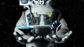 现代scaphandre的宇航员拿着平的地球,并且立方体地球,3d回报背景,计算机生成的背景 皇族释放例证