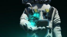 现代scaphandre的宇航员拿着连接小点,回报背景,计算机生成的背景的3d 影视素材