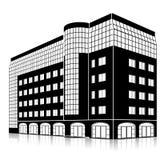 现出轮廓与入口和反射的办公楼 库存照片