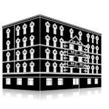现出轮廓与入口和反射的办公楼 免版税库存照片