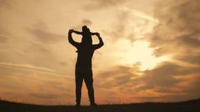 现出轮廓使用在草甸的父亲和小儿子在日落时间 r 股票录像