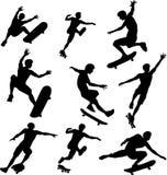 现出轮廓溜冰者 免版税库存照片