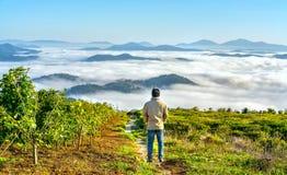 现出轮廓站立在一个高小山风景农村故乡的年轻人 免版税库存照片