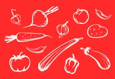 现出轮廓蔬菜 皇族释放例证