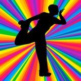 现出轮廓跳舞的人,传染媒介音乐争斗党,迪斯科光芒 免版税图库摄影