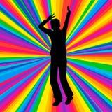 现出轮廓跳舞的人,音乐争斗党,迪斯科光芒 免版税图库摄影