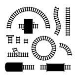 现出轮廓黑铁路元素零件集合 ?? 向量例证
