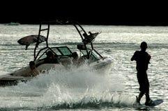 现出轮廓wakeboard 免版税库存照片