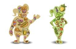 现出轮廓一个肥胖和亭亭玉立的妇女形象的例证在白色背景的 向量 免版税库存图片