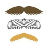 现出轮廓传染媒介髭头发行家卷曲汇集胡子理发师和绅士标志时尚成人人的脸面护理 免版税库存照片