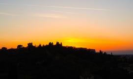 现出轮廓佛罗伦萨全景从piazzale米开朗基罗的 免版税库存照片