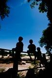 现出轮廓小男孩坐篱芭在Khone Phapheng水 库存图片