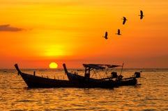 现出轮廓有鸟和日落的小渔船 免版税图库摄影