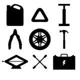 现出轮廓汽车服务和诊断的设计元素 机器汽车机械师修理  技工工具和设备 免版税图库摄影