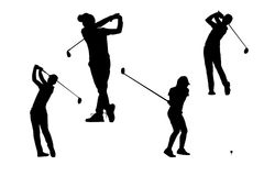 现出轮廓高尔夫球运动员汇集 免版税库存照片