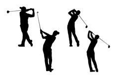 现出轮廓高尔夫球运动员汇集 免版税库存图片