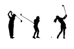 现出轮廓高尔夫球运动员汇集 库存照片