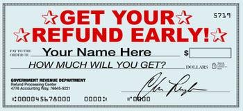 现在及早得到您的退还税金-文件退款快速的回归的  库存图片