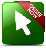 现在命令绿色方形的按钮 免版税库存照片