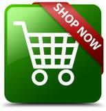 现在商店绿色方形的按钮 免版税库存照片
