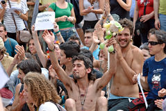 现在巴塞罗那民主实际西班牙 免版税图库摄影