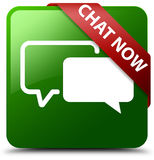 现在闲谈绿色方形的按钮 免版税库存照片