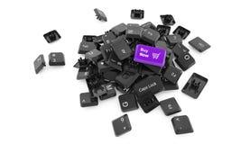 现在购买!钥匙- 3d例证 免版税库存照片