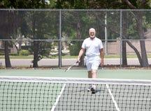 现场人前辈网球 库存照片