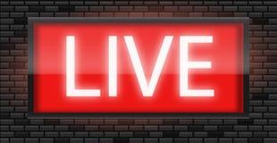 现场广播在黑砖墙背景的收音机标志 免版税库存图片