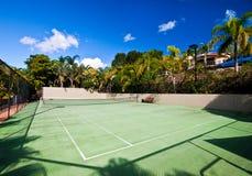 现场手段网球 免版税库存图片