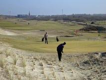 现场荷兰高尔夫球的golfplayers 库存图片