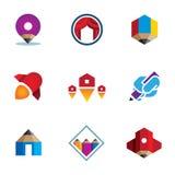 现场-探索-征服网上数字式新的企业商标象 库存图片