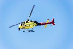 现场直播了索契autodrom,直升机电视 免版税库存照片