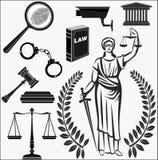 现场 被设置的图标 司法的题材 法律 正义的Themis女神 图库摄影