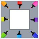 现实五颜六色的标志文本的二次方模板  皇族释放例证