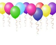 现实五颜六色的气球收藏varieted与金子的颜色 库存照片