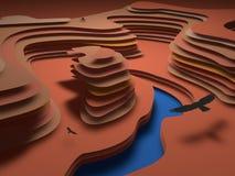 现实五颜六色的纸被削减的背景 抽象红色和橙色纸海报构造与波浪层数 峡谷安心 库存例证
