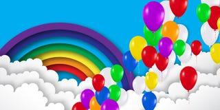 现实五颜六色的3d气球飞行到天空 免版税图库摄影