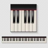 现实传染媒介钢琴钥匙特写镜头被隔绝的和键盘在透明背景隔绝的象集合 构思设计餐馆模板 免版税库存照片