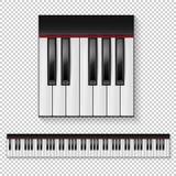 现实传染媒介钢琴钥匙特写镜头被隔绝的和键盘在透明背景隔绝的象集合 构思设计餐馆模板 免版税图库摄影