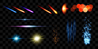 现实光线影响 透镜火光元素汇集 也corel凹道例证向量 免版税库存图片