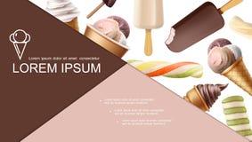 现实冰淇淋五颜六色的构成 向量例证