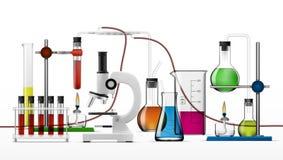 现实化工实验室设备集合 玻璃烧瓶,烧杯,酒精灯 库存例证