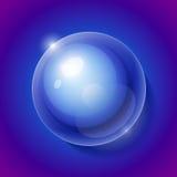 现实发光的透明水下落球形 免版税库存图片
