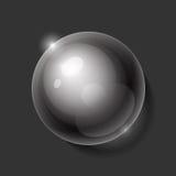 现实发光的透明水下落球形 免版税库存照片