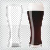 现实啤酒杯-黑啤酒和空的杯子 库存例证