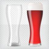 现实啤酒杯-红色啤酒和空的杯子 库存例证