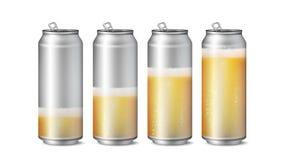 现实啤酒罐大模型传染媒介 啤酒与泡沫和泡影的背景纹理 啤酒的另外水平 宏指令  库存照片
