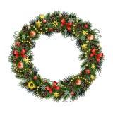 现实圣诞节花圈隔绝了Ð ¾ Ñ '白色背景 免版税库存照片