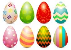 现实复活节彩蛋绘在白色传染媒介的彩色组 图库摄影